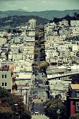 San Francisco street view on hills viewed from top of Lombard Street