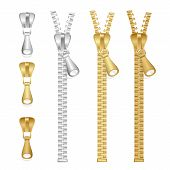 picture of zipper  - Vector realistic zippers type set isolated on white - JPG