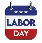 image of labor  - Labor Day calendar reminder isolated on white - JPG
