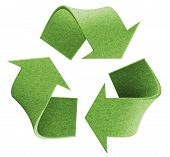 stock photo of reuse recycle  - Recycle environmental isolated green 3D logo concept - JPG