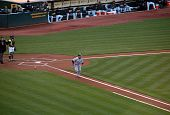 Yankee's Derek Jeter Runs Towards First