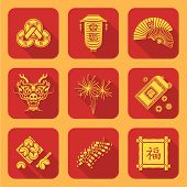 yellow color flat style chinese new year icons set