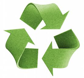 image of logo  - Recycle environmental isolated green 3D logo concept - JPG