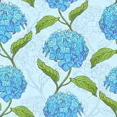 pic of hydrangea  - Seamless vintage floral pattern with beautiful hydrangea flowers - JPG