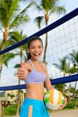 image of thumb  - Happy beach volleyball woman player thumbs up - JPG