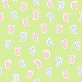 stock photo of soles  - Seamless pattern with blue and pink baby sole - JPG