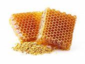 stock photo of pollen  - Honeycomb with pollen - JPG
