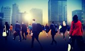 stock photo of hustle  - Commuter Business District Walking Crowd Cityscape Concept - JPG
