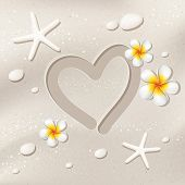 image of frangipani  - Sand background with heart shape starfishes stones and frangipani flowers beach summer travel love vector 