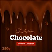 pic of bittersweet  - Dark bittersweet melted premium collection chocolate background print for delicious fondue dippers dessert recipe abstract vector illustration - JPG