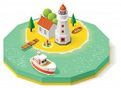 stock photo of lighthouse  - Isometric lighthouse building with pier and ship - JPG