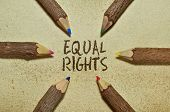 stock photo of human-rights  - Conceptual image with pencils on vintage background about human rights - JPG