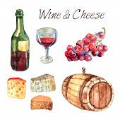 picture of production  - Winery farm production watercolor pictograms collection for restaurant wine consumption with cheese chasers sketch abstract vector illustration - JPG