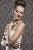 pic of aristocrat  - cute brunette girl with aristocratic style posing with elegant white dress and hairdo stylish make - JPG
