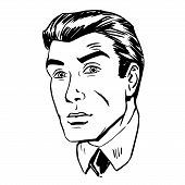 foto of emotions faces  - Anxious emotional face men fear the uncertainty of the eye retro line art graphics - JPG