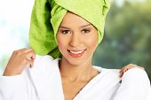 picture of turban  - Beautiful spa woman in bathrobe and turban - JPG