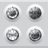 pic of four-wheel  - All wheel drive activation buttons with signs and symbols - JPG