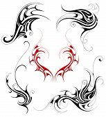 stock photo of maori  - vector illustration with Tribal tattoo design featuring floral elements - JPG