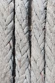 stock photo of nylons  - Nylon Gray big rope of boat on pier background - JPG