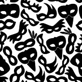 picture of carnival rio  - carnival rio black masks icons seamless pattern eps10 - JPG