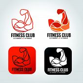 stock photo of arm muscle  - arm muscle vector logo design for fitness gym - JPG