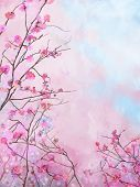 picture of rough-water  - Painting pink floral Spring blossom background - JPG