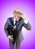 pic of nerd  - Funny nerd businessman on the white - JPG
