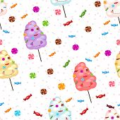 picture of candy cotton  - Seamless pattern of sweets cotton candy lollipops little stars - JPG