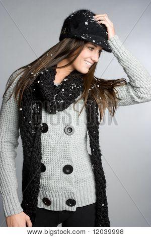 Постер, плакат: Зимняя мода женщина, холст на подрамнике