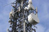 High-tech array on comm's mast.