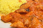 Indian chicken curry with pilau rice.