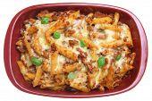 Baked rigatoni pasta au gratin