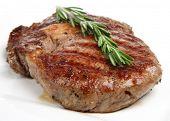 Rib-eye steak resting