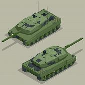 Постер, плакат: Flat 3d isometric illustration of tank Military Transportation Military Tank Military Tank isomet