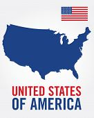 Vector United States of America Flag and Map Set poster