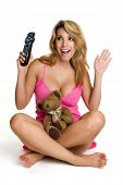 Woman Holding Remote