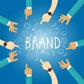 Постер, плакат: brand building build company business name branding team work marketing
