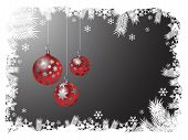 image of christmas greeting  - three christmas ornaments hanging from snowy frame - JPG