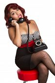 Pinup Woman Using Vintage Phone