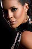 Beautiful latin woman closeup headshot