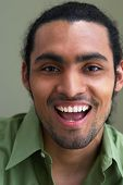 Close up portrait of man laughing