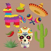 Постер, плакат: Mexico bright icon set with national mexican objects: sombrero skull agave cactus pinata etc