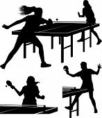 Постер, плакат: table tennis silhouttes girls