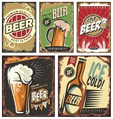 Retro beer vector signs set poster