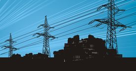 stock photo of power lines  - electrict power lines and city scape in the nightillustration - JPG