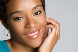 stock photo of african american woman  - Beautiful Smiling Black Woman - JPG