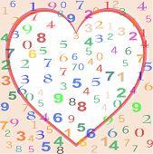 Fondo de coloridos números con corazón de amor