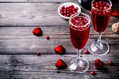 Refreshing Cocktail With Champagne And Cranberry For Valentines Day poster