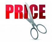 Price cutting scissors illustration design over white