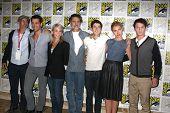 SAN DIEGO - JUL 22: Gillespie, Colin Farrell, Marti Noxon, Sarandon, Mintz-Plasse, Imogen Poots, Anton Yelchin at the 2011 Comic-Con at SD Convention Center on July 22, 2010 in San Diego, CA.